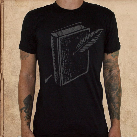 Image of Miles to go book logo - 50/50 discharge inks - unisex 1 S/ 1 XL left