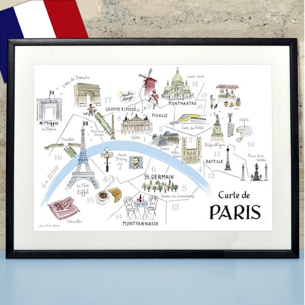 alice tait 39 map of paris 39 print alice tait shop. Black Bedroom Furniture Sets. Home Design Ideas