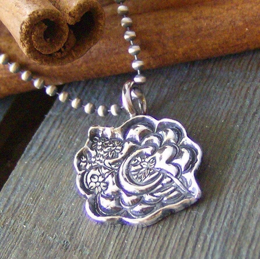 Image of sweet little flowers.... hand stamped floral pattern initial necklace