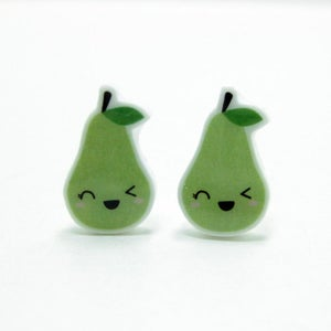 Image of Winking Pear Earrings - Sterling Silver Posts