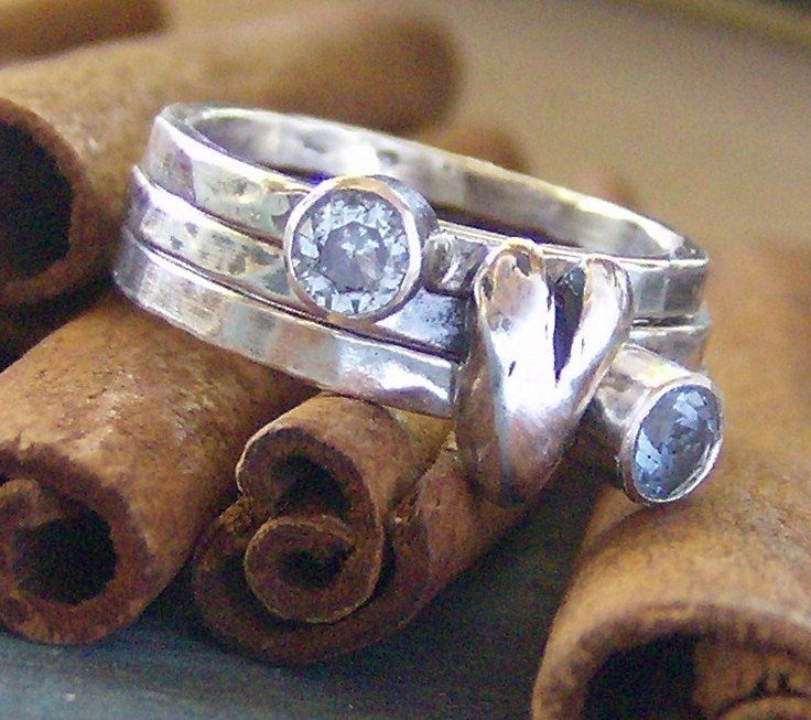 Image of Heart and stone hand stamped silver and faceted gem stone stacking rings