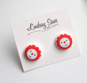 Image of Flower Face Fabric Covered Button Earrings for Adoption Fundraiser