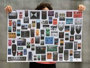 Image of vintage guitar pedal poster