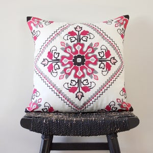 Image of Embroidered Folk 45 x 45 cm Linen Cushion Cover (18 inch)