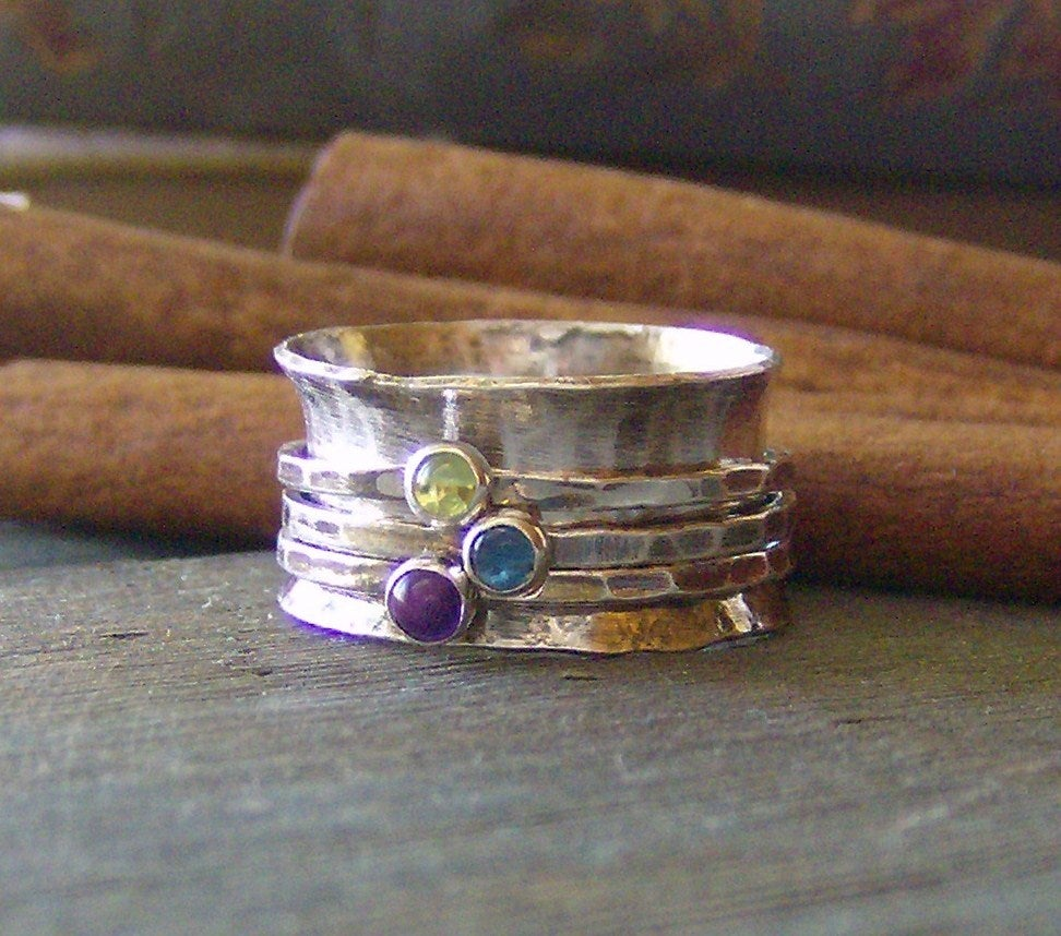 Image of Color dots hand stamped 3 stone spinner ring