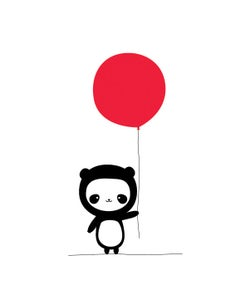Image of Panda With Red Ballon 8x10 Print