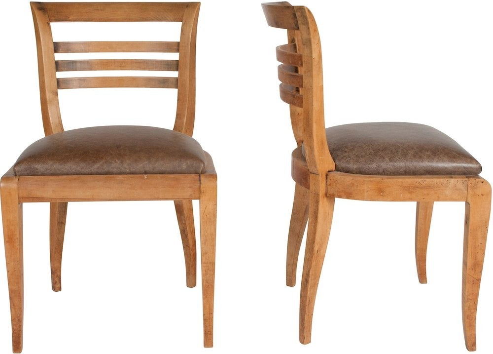 Image of 1930s French Deco Dining Chairs, Set of 8