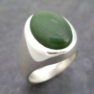 Image of Mens Heavy Oval Nephrite Jade Ring in Sterling Silver