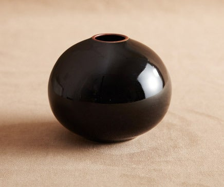 Image of Black Glazed Porcelain Bud Vase with Matte Sienna Rim BC-015