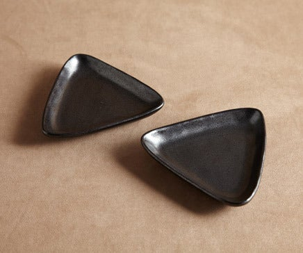 Image of Pair of Black Oxidized Ceramic Triangle Side Dishes BC-018