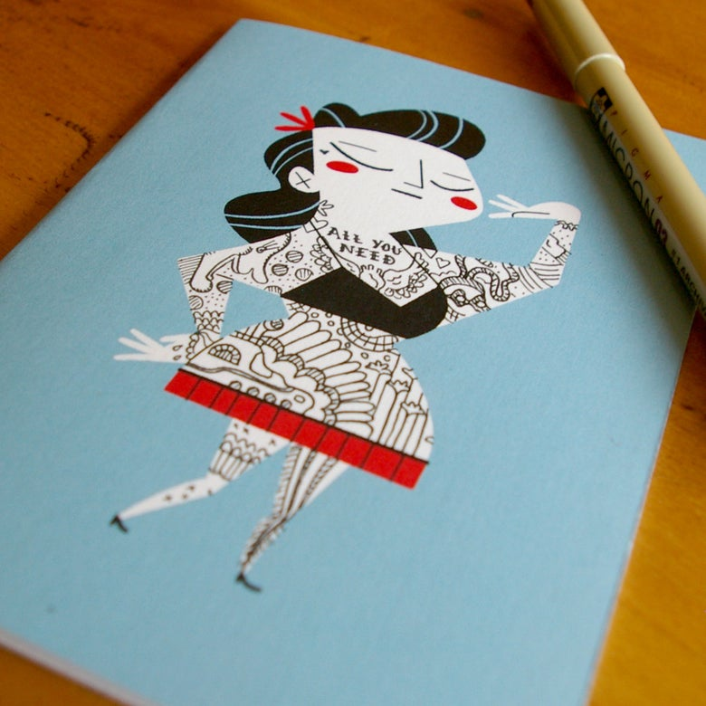 Image of TATTOO IT YOURSELF CARD - LADY - 5 PACK