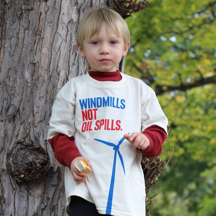 """Image of """"Windmills Not Oil Spills"""" Shirt"""