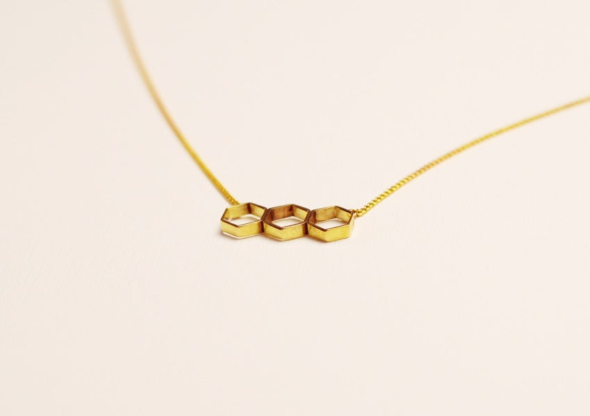 Image of Hex Bar Necklace - Brass