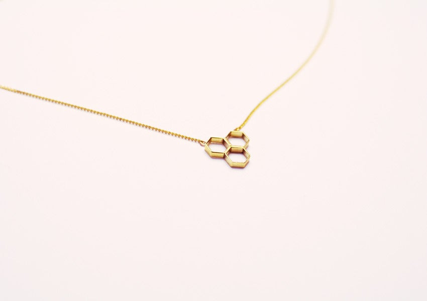 Image of Hex Trio Necklace - Brass