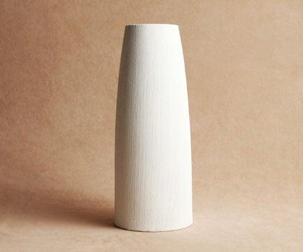 Image of Cream Matte Combed Finish Tapered Ceramic Vase BC-221