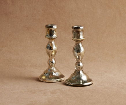 Image of Pair of Molten Silvered Blown Glass Candlesticks with Nickel Fitting 3 BC-218