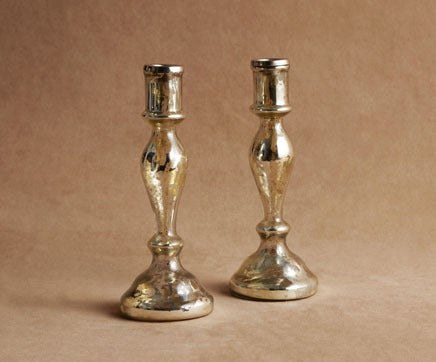 Image of Pair of Molten Silvered Blown Glass Candlesticks with Nickel Fitting 2 BC-217