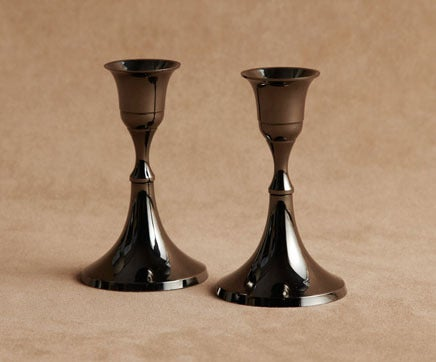 Image of Pair Black Nickel Colonial Candlesticks BC-213