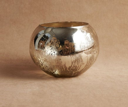 Image of Molten Silvered Glass Fishbowl Vase BC-207