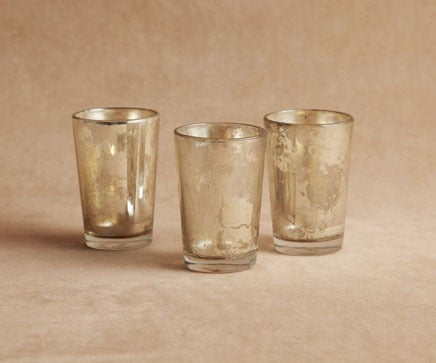 Image of Set of 3 Molten Silvered Glass Votives BC-204