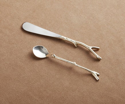 Image of Pair of Gold Twig & Pod Spoons BC-198