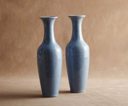 Image of Pair of Vintage Powder Blue Crackle Glaze Ceramic Urn Vases BC-179