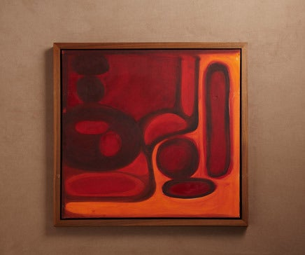 Image of Abstract Painting Oil on Canvas with Hand Oiled Walnut Frame 5 BC-170