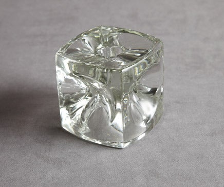 Image of Vintage Glass Cube Candleholder BC-098