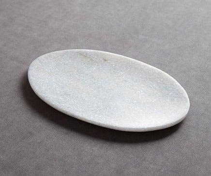 Image of Hand Beveled White Italian Marble Oval Platter BC-094