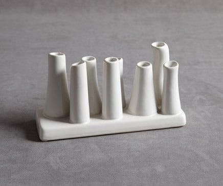 Image of White Ceramic Multi Bud Vase BC-092