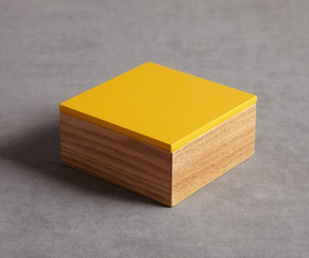 Image of Wood and Yellow Lacquer Box 2 BC-086