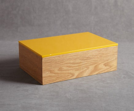 Image of Wood and Yellow Lacquer Box BC-085
