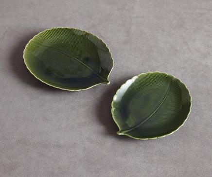 Image of Pair of Green Glazed Porcelain Leaf Plate BC-075