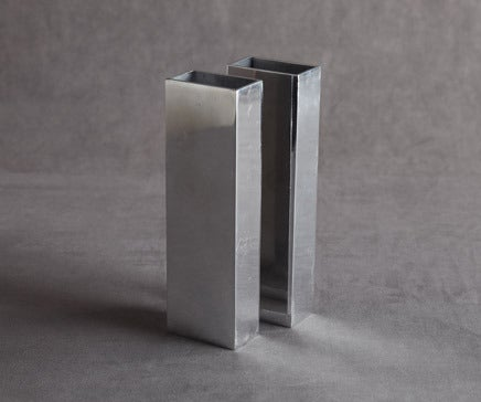 Image of Pair of Simple Shiny Metal Rectangular Vases BC-062