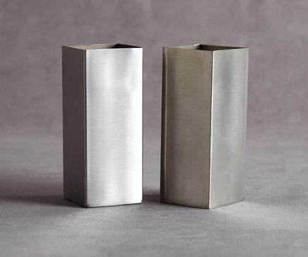 Image of Pair of Vintage Brushed Stainless Machined Rectangular Vases BC-060