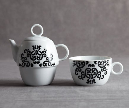 Image of Black and White Split Porcelain Tea Pot and Cup BC-047 - 47/A