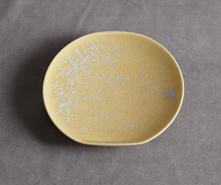 Image of Decorative Yellow and Baby Blue Flecked Porcelain Plate BC-041