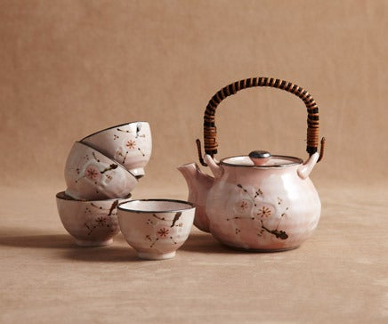 Image of Cherry Blossom  Ceramic Glazed Tea Set with Woven Bamboo Handle BC-029