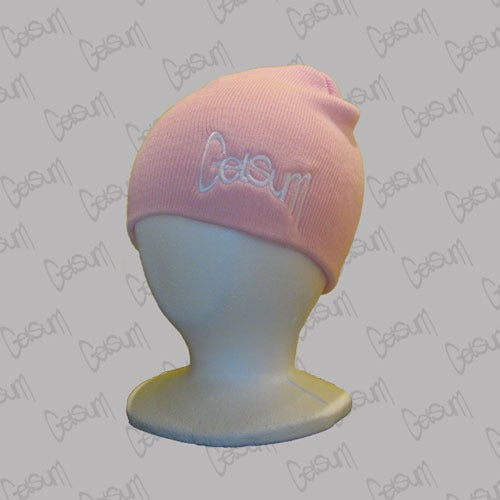 Image of Pink Beanie w/White