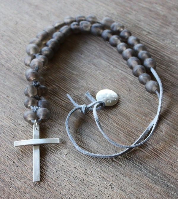 Image of Chunky Bead & Silver Cross Necklace - Greige
