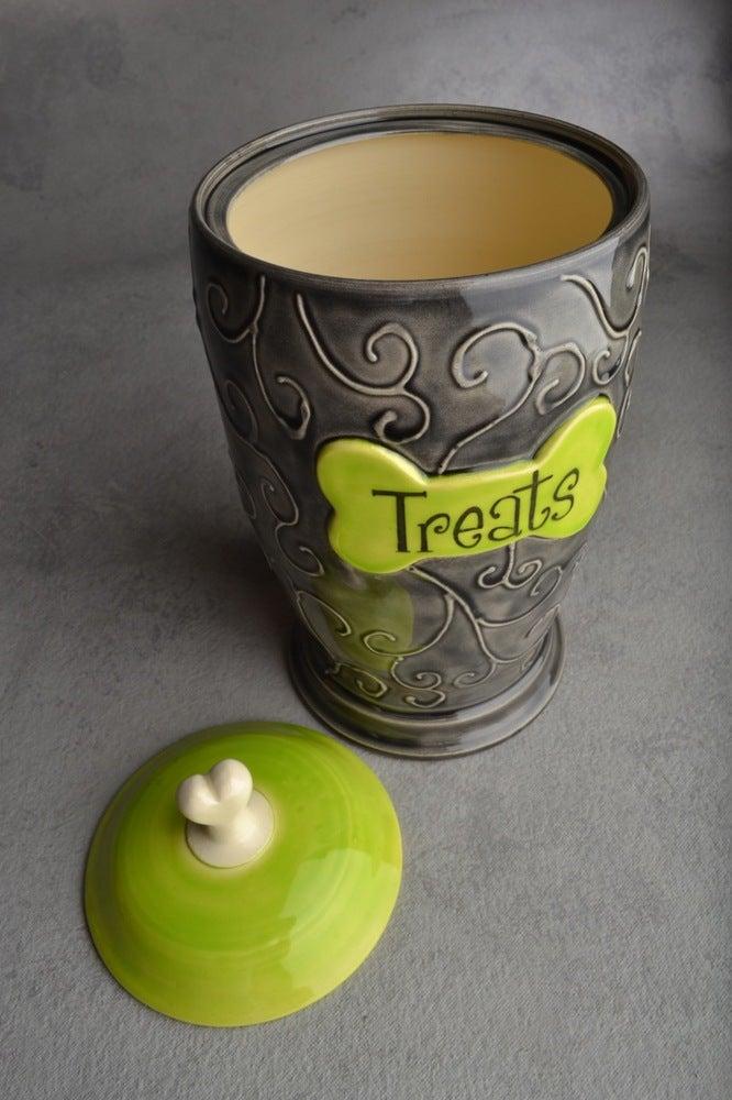"Image of Dog Treat Jar Black & Green ""Treat"""