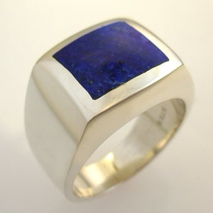 Image of Mens Square Lapis Ring