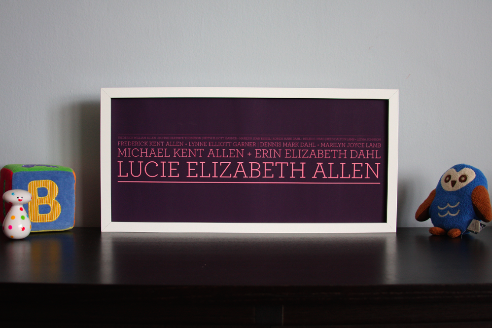 """Image of 4 Generation Lineage Family Tree 19¾""""x9"""" with serif typeface"""