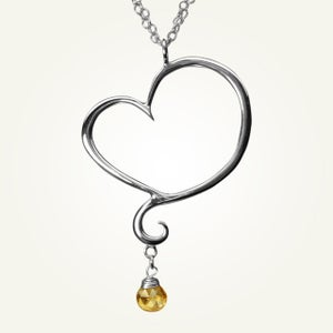 Image of Aphrodite Heart Necklace with Citrine, Sterling Silver