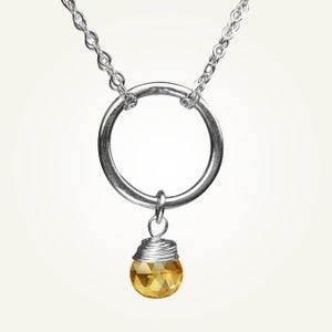 Image of Orbit Necklace with Citrine, Sterling Silver