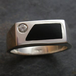 Image of Moissanite and Onyx Mens Ring