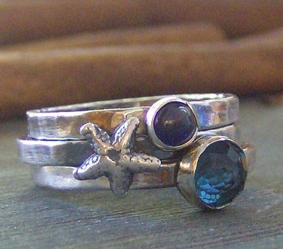 Image of By the Sea gem stone and fine silver stacking ring set