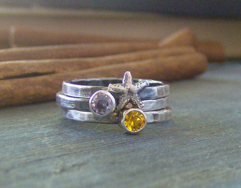 Image of Sea Stones hand stamped fine silver and gem stone stacking rings