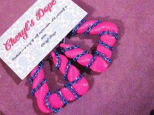 Image of  Cheryl's Dope Fuchsia Pink and Teal Door Knocker Earrings
