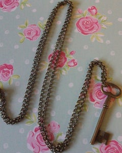 Image of Vintage Large Key Charm Pendant Necklace